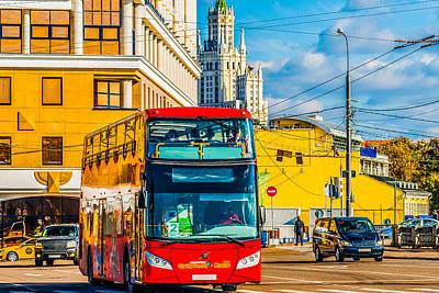 Aluminum Outdoor Photograph - Tourist Bus by Alexander Senin