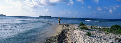 Cay Photograph - Tourist Fishing On The Beach, Sandy by Panoramic Images