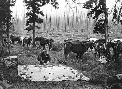 Banff Canada Photograph - Tourist Horseback Camp Lunch by Underwood Archives