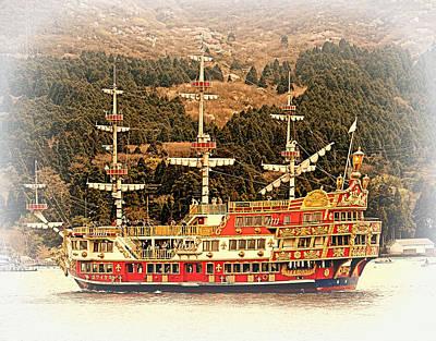 Photograph - Tourist Ship Below Mt Fuji by John Potts