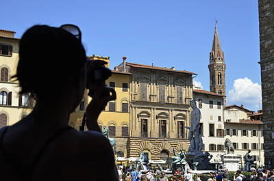 Tourist Taking Pictures Of Florence Art Print by Sami Sarkis