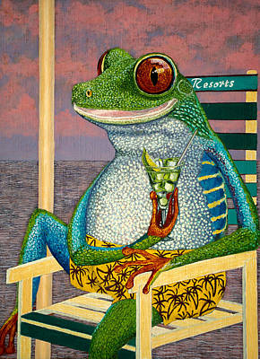 Tourist Tree Frog Oil Painting 10x12in On Liner Canvas Panel   Original