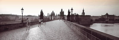 Vltava Photograph - Tourist Walking On A Bridge, Charles by Panoramic Images