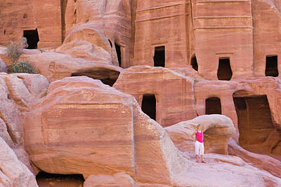 Petra Photograph - Tourist With Uneishu Tomb, Petra by Keren Su