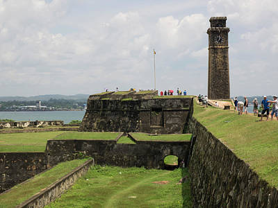 Tourists Along Rampart Of Galle Fort Art Print