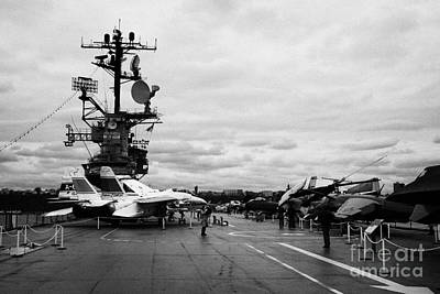 tourists and Aircraft on the flight deck of the USS Intrepid at the Intrepid Sea Air Space Museum  Art Print