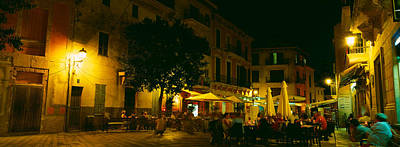 Tourists At A Sidewalk Cafe, Majorca Art Print