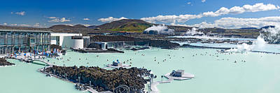 Tourists At A Spa Lagoon, Blue Lagoon Art Print by Panoramic Images