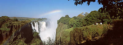 Victoria Falls Photograph - Tourists At A Viewing Point Looking by Panoramic Images