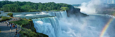 Fall Of River Photograph - Tourists At A Waterfall, Niagara Falls by Panoramic Images