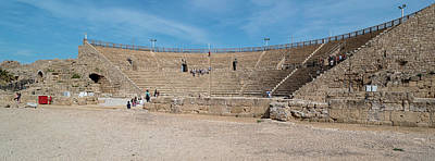 Building Feature Photograph - Tourists At Amphitheatre, Caesarea, Tel by Panoramic Images