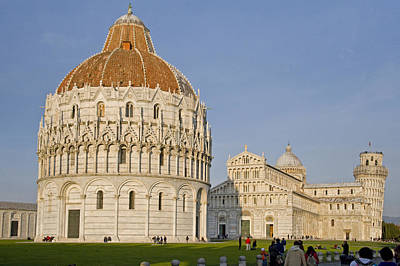 Baptistry Photograph - Tourists At Baptistery With Cathedral by Panoramic Images
