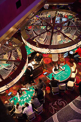 Tourists At Blackjack Tables In Casino Art Print