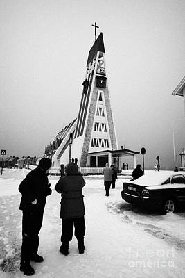 Tourists At Hammerfest Church Finnmark Norway Europe Art Print by Joe Fox