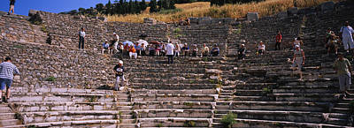 Ancient Civilization Photograph - Tourists At Old Ruins Of An by Panoramic Images