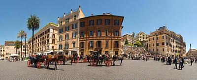 Tourists At Spanish Steps, Piazza Di Art Print