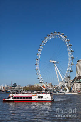 Photograph - Tourists Boat On The Thames And London Eye. by Peter Noyce