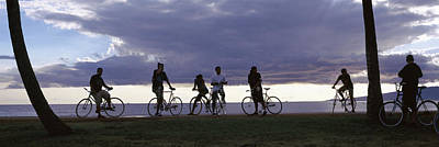 Beach Bicycle Photograph - Tourists Cycling On The Beach by Panoramic Images