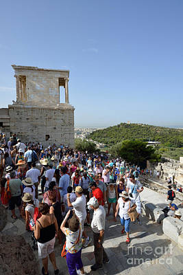 Antiquity Photograph - Tourists Entering Acropolis Of Athens In Greece by George Atsametakis
