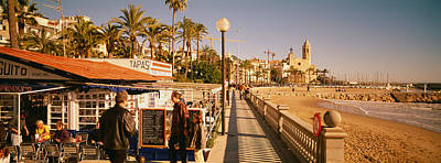 Tourists In A Cafe, Tapas Cafe, Sitges Art Print by Panoramic Images