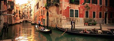 Tourists In A Gondola, Venice, Italy Art Print