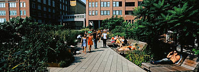 Tourists In An Elevated Park, High Art Print