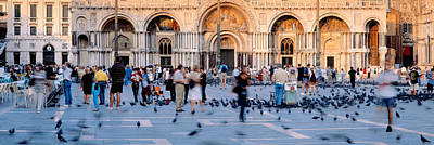 St. Marks Basilica Photograph - Tourists In Front Of A Cathedral, St by Panoramic Images