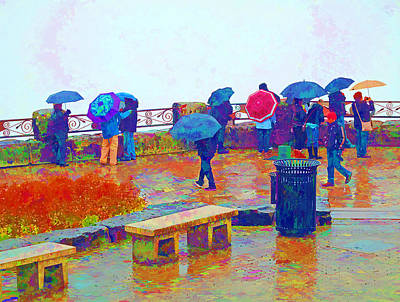 Mixed Media Royalty Free Images - Tourists in the Rain Royalty-Free Image by Barbara McDevitt