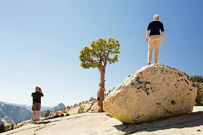 Tourists In Yosemite National Park Print by Ashley Cooper