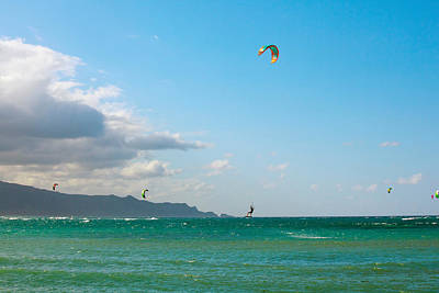 Tourists Kiteboarding In The Ocean Art Print