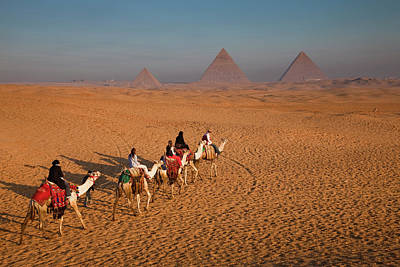 Photograph - Tourists On Camels & Pyramids Of Giza by Richard I'anson