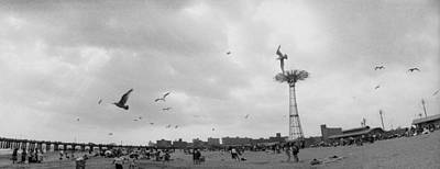 Tourists On The Beach, Coney Island Art Print by Panoramic Images