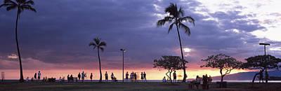 Tourists On The Beach, Honolulu, Oahu Art Print