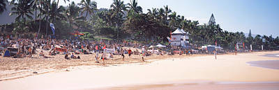 Tourists On The Beach, North Shore Art Print by Panoramic Images