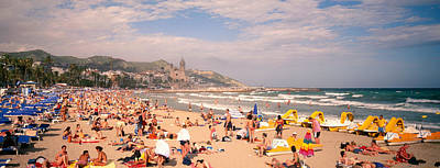 Waves Photograph - Tourists On The Beach, Sitges, Spain by Panoramic Images