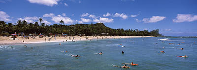 Enjoyment Photograph - Tourists On The Beach, Waikiki Beach by Panoramic Images