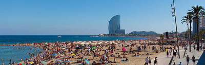 Barcelona Photograph - Tourists On The Beach With W Barcelona by Panoramic Images