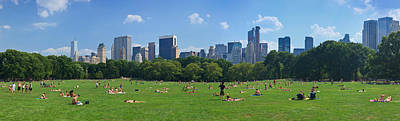 Tourists Resting In A Park, Sheep Art Print by Panoramic Images