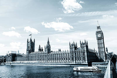 Photograph - Tourists River Boat Outside House Of Parliament by Peter Noyce