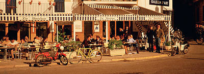 Tourists Sitting In A Cafe, Sitges Art Print by Panoramic Images