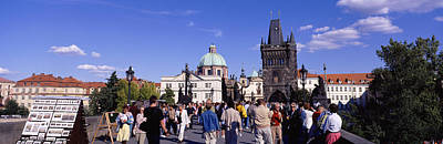 Prague Photograph - Tourists Walking In Front by Panoramic Images