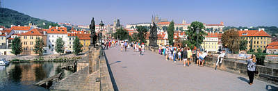 Vltava Photograph - Tourists Walking On A Bridge, Charles by Panoramic Images