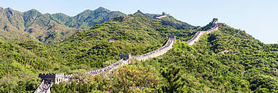 Great Wall Of China Photograph - Tourists Walking On A Wall, Great Wall by Panoramic Images