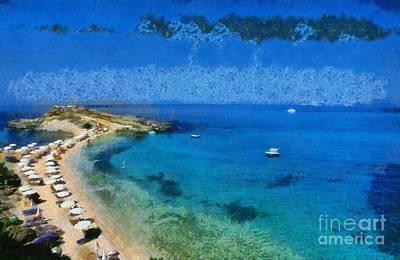 Painting - Tourkopodaro Beach In Kefallonia Island by George Atsametakis