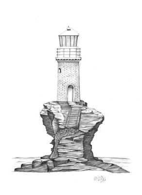 Drawing - Tourlitis Lighthouse-greece by Patricia Hiltz