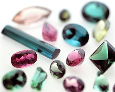 Tourmaline Gemstones Art Print by Lawrence Lawry/science Photo Library