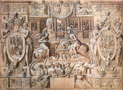 Tournament On The Occasion Of The Marriage Of Catherine De Medici 1519-89 And Henri II 1519-59 Print by Antoine Caron