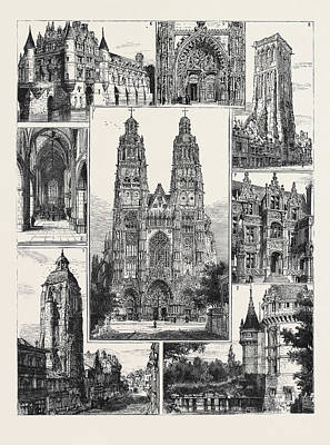 Portal Drawing - Tours 1. The Cathedral St. Gatien 2. Tour De Charlemagne 3 by English School