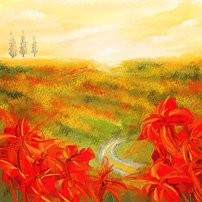 Flower Fields Painting - Towards The Brightness - Fields Of Poppies Painting by Lourry Legarde