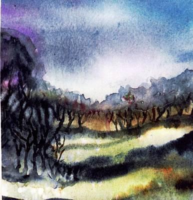 Dramatic Sky Sun Rays Painting - Towards The Misty Bogland  by Trudi Doyle